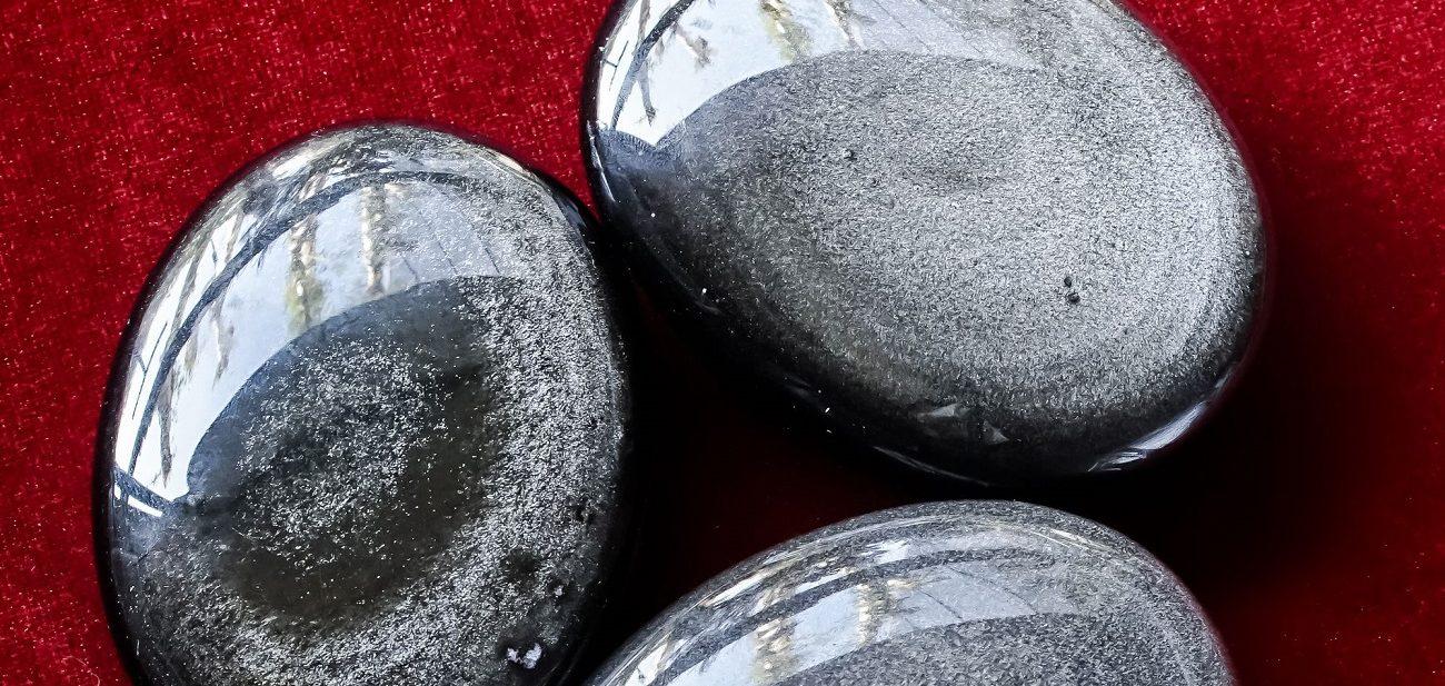 pierre obsidienne argenté